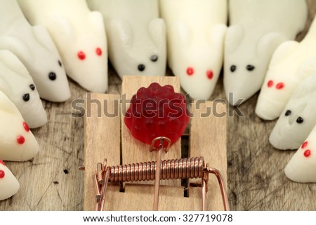 Marshmallow Mouses and the Trap - stock photo