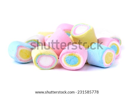 Marshmallow on white background - stock photo