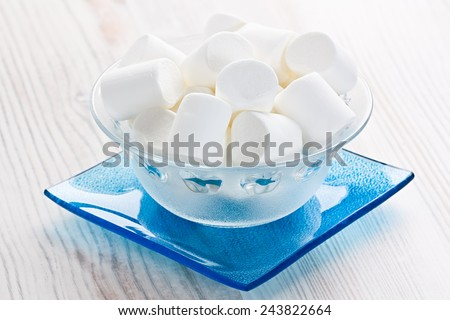 Marshmallow sweets candies in glass bowl   - stock photo