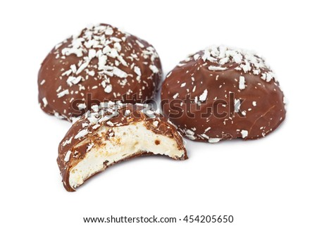 Marshmallows in chocolate isolated on white background