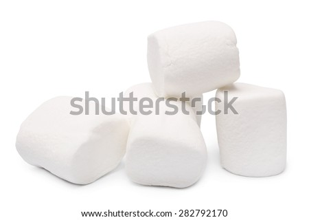 Marshmallows on white background - stock photo