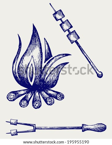 Marshmallows over a camp fire to roast. Doodle style. Raster version - stock photo