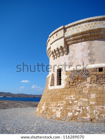 Martello tower from the 19th century in Fornells, Menorca