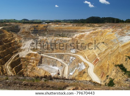Martha mine, opencast gold mine, Waihi, New Zealand - stock photo