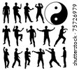 Martial Art Kung Fu Tai Chi Self Defense Exercise Fight Master People Man - stock vector