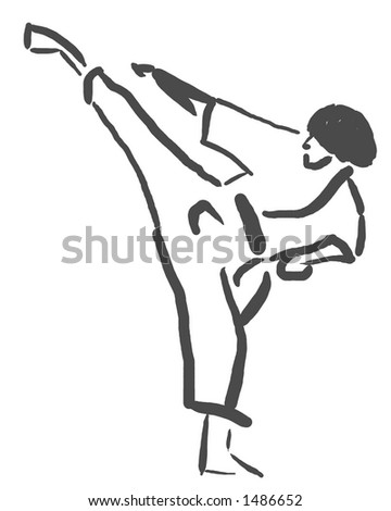 Martial Artist in a Calligraphic Style - stock photo