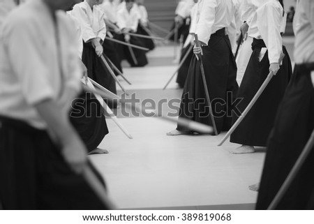 Martial arts club, monochrome  - stock photo