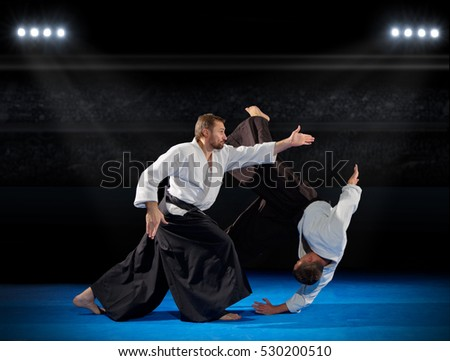Martial arts fighters in sports hall
