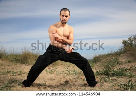 martial arts instructor exercising with a knife outdoor - stock photo