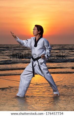 Martial arts man on beach at sunset - stock photo