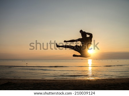 Martial arts master at sunrise - stock photo