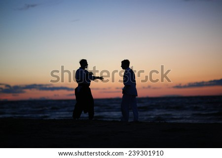 Martial arts master explains the idea to his student, silhouettes of men at sunset - stock photo