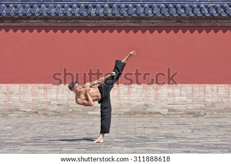 Martial arts master practicing high kick technique at Temple of Heaven, Beijing, China - stock photo