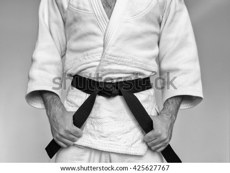 Martial arts Master with black belt