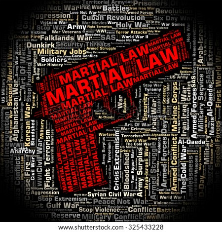 Martial Law Indicating Governor Crime And Warrior - stock photo
