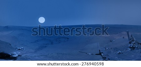 "Martian landscape with blue sunset ""Elements of this image furnished by NASA""  - stock photo"