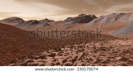 Martian Valles with fractured regolith - stock photo