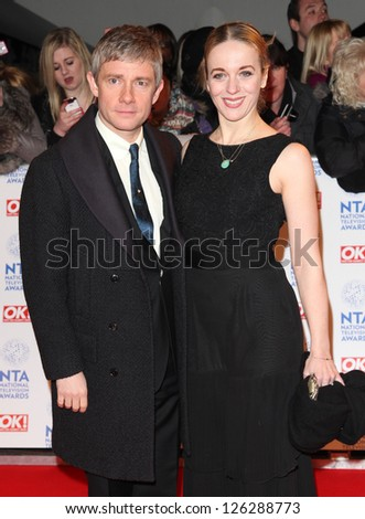Martin Freemand and wife arriving for the National Television Awards 2013, at the O2 Arena, London. 23/01/2013 Picture by: Alexandra Glen
