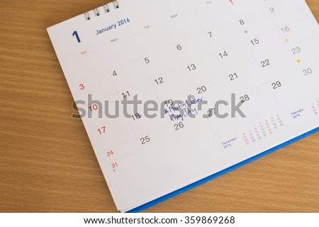 Martin Luther King Day marking in calendar. - stock photo