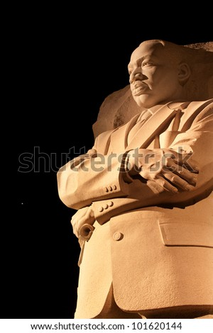 Martin Luther King Jr. Memorial Statue Venus and Stars Night Washington DC Sculptor is Lei Yixin - stock photo
