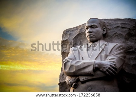 Martin Luther King  Jr Memorial. The statue memorial for Martin Luther King Jr. in West Potomac Park, Washington D.C.. - stock photo