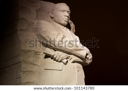 Martin Luther King Jr. Monument in Washington DC , at night - stock photo