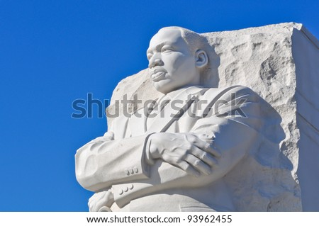 Martin Luther King Statue in Washington DC - stock photo