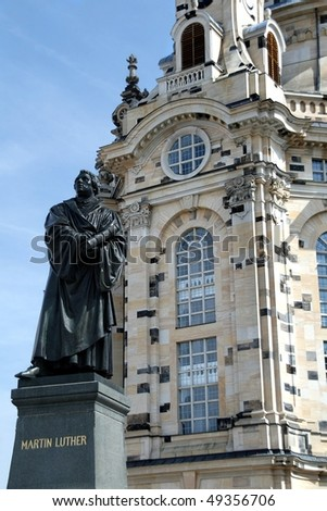 Martin Luther Statue in front of the Frauenkirche in Dresden, Germany - stock photo