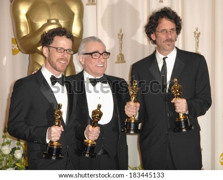 Martin Scorsese, Ethan Coen, Joel Coen, Best Achievement in Directing, Best Motion Picture of the Year, Best Screenplay, NO COUNTRY FOR OLD MEN, Academy Awards, Los Angeles, February 24, 2008