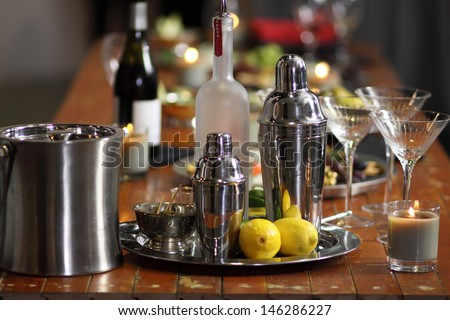 Martini bar with snacks ready to serve.
