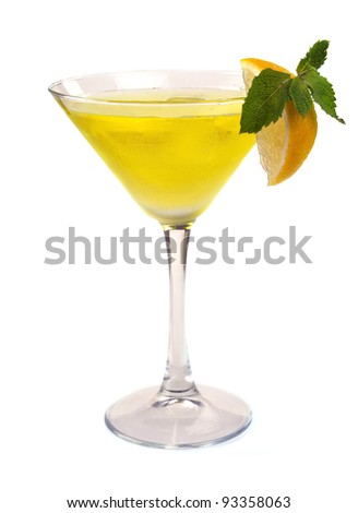 Martini cocktail with lemon and mint - stock photo