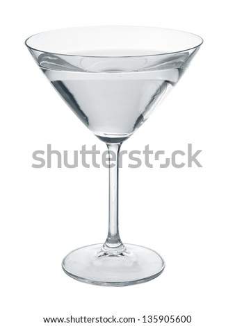 Martini glass filled with transparent colorless liquid isolated on white.. - stock photo