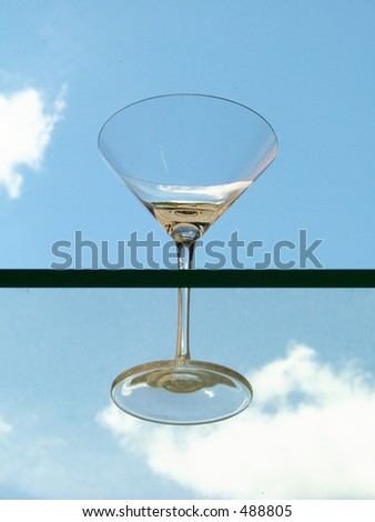 martini glass in the mid-air
