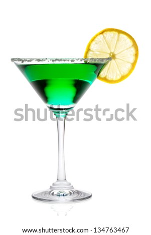 Martini glass with lemon isolated on white background