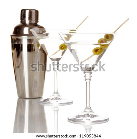 Martini glasses with olives and shaker isolated on white - stock photo