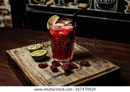 Martini Rosato Cocktail isolated retro lime - stock photo