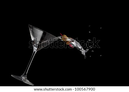Martini spilling - stock photo