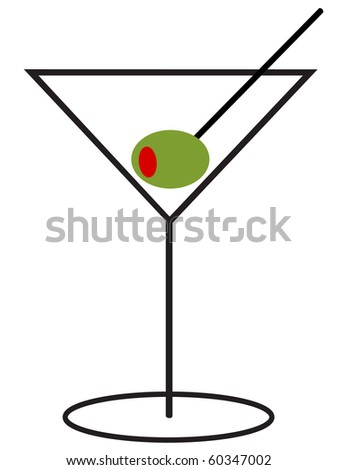 Martini with Olive - stock photo