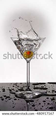 Martini With Olive Drop 3