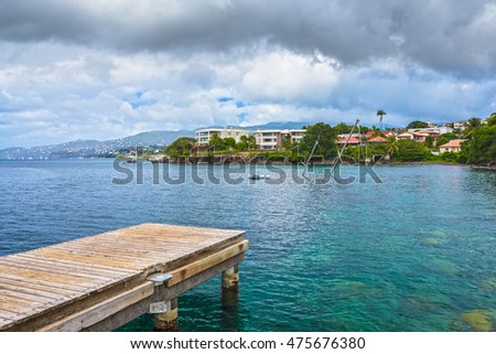 Martinique, bay on the coast of the city of Fort-de-France
