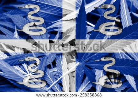Martinique Flag on cannabis background. Drug policy. Legalization of marijuana