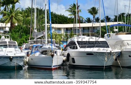 Martinique, the picturesque marina of Les Trois Ilets in West Indies
