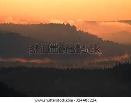 Marvelous red awakening. Misty beautiful valley. Peaks of hills are sticking out from foggy background, the fog is red and orange due to Sun rays.