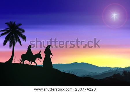 Mary and Joseph with a donkey on Christmas Eve. Bethlehem city in the background. Nativity scene story, Colorful Christmas background concept. - stock photo