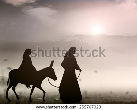 Mary and Joseph with a donkey on Christmas Eve. Nativity scene story, Christmas background concept. - stock photo