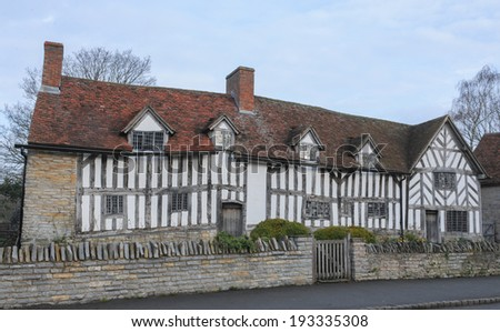 Mary Arden's Farm in Wilmcote, Stratford upon Avon.She was the mother of William Shakespeare and the farm is now run by the Shakespeare Birthplace Trust. - stock photo