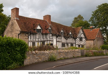 Mary Ardens House in the village of Wilmcote - stock photo