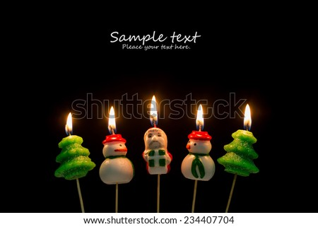 Mary Christmas theme in lit candles - stock photo