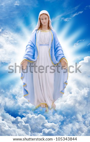 Mary on Cloud - stock photo