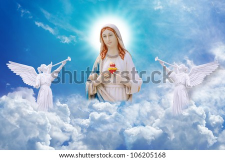 Mary on heaven and angels - stock photo
